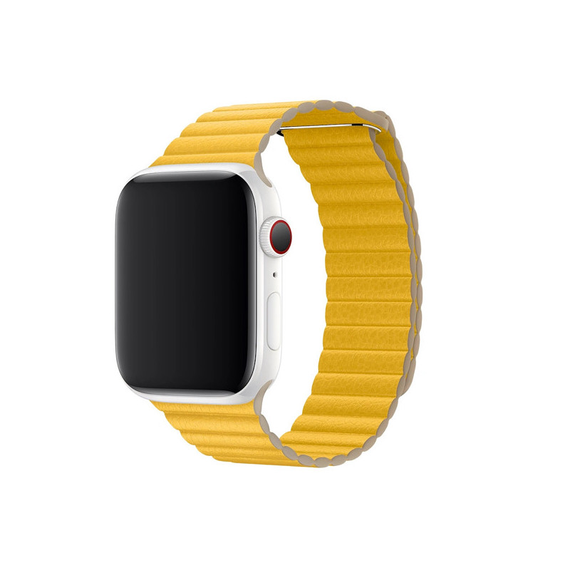 Apple - Bracelet Apple Watch 42mm / 44mm En cuir - Large - Jaune