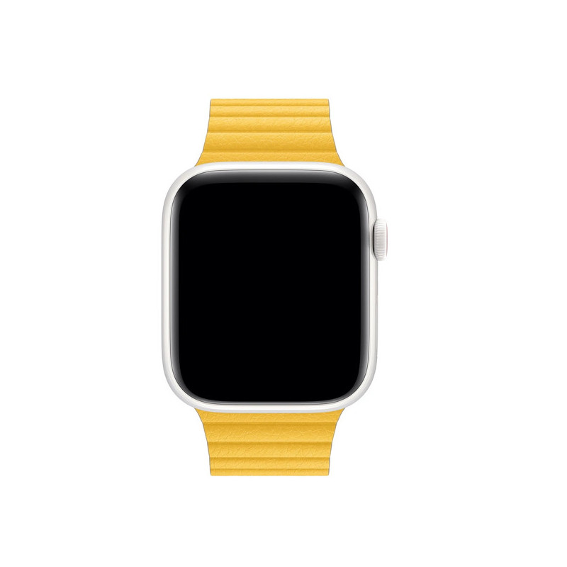 Apple - Bracelet Apple Watch 42mm / 44mm Leather Loop - En cuir - Large -  Meyer Lemon