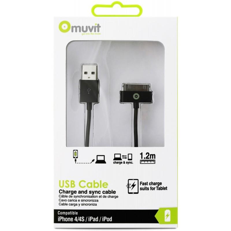 Muvit Charge et synchronisation câble 30-broches 3 m  Noir