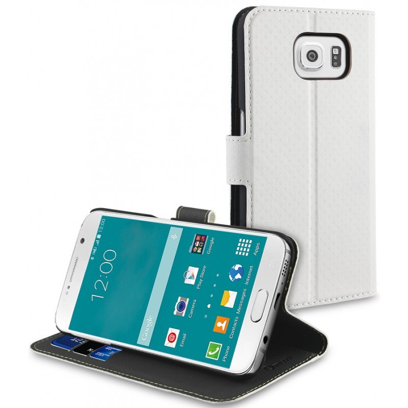 Muvit Wallet Stand - Étui / Support Galaxy S6 - Blanc
