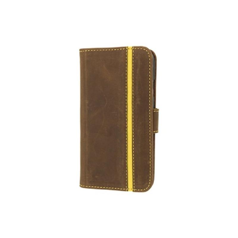 Booklet Galaxy S4 Lederen Hoes Stripe Vintage Donker Bruin