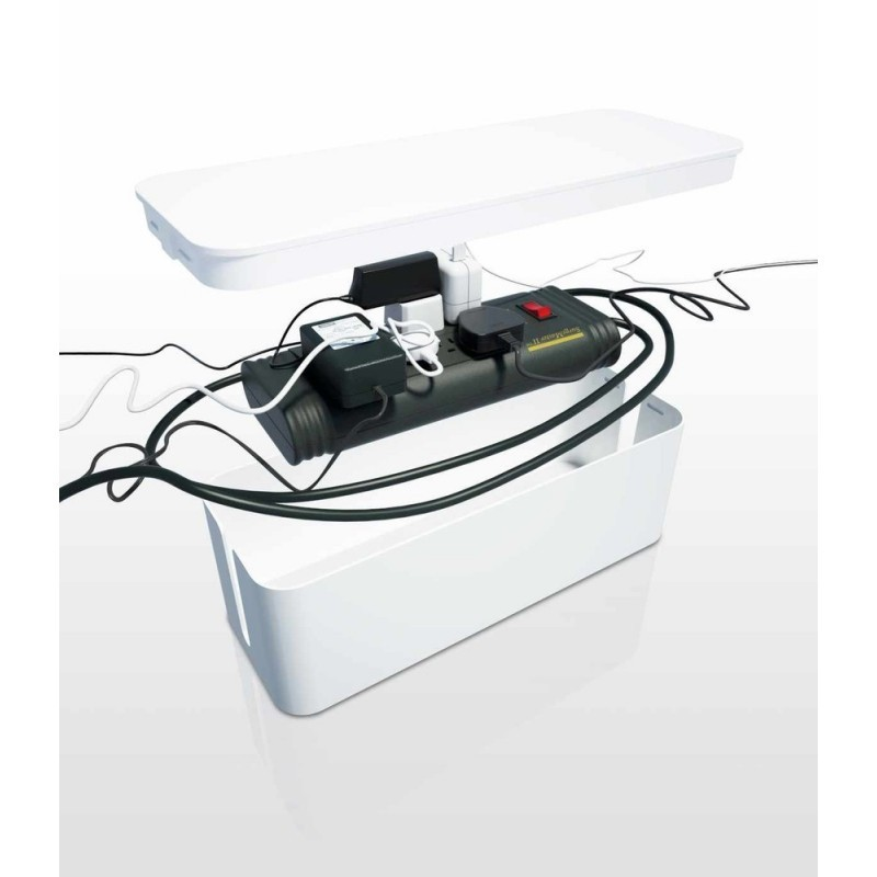 Bluelounge CableBox boîte rangement blanche