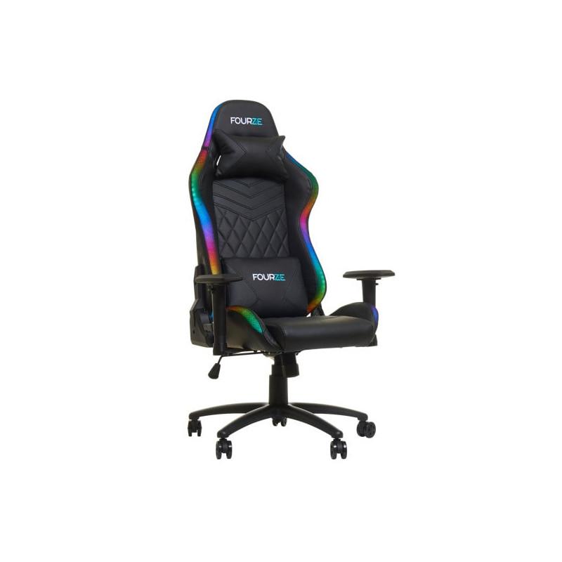 Fourze - Chaise Gaming RGB / Siège Gamer LED - Noir