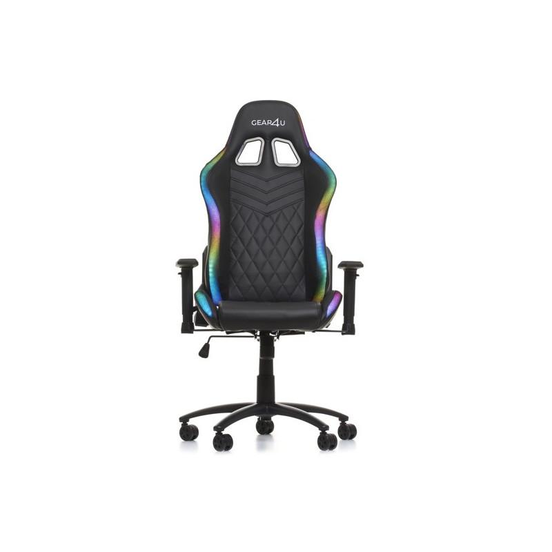 Gear4U Siège gamer / Chaise gaming lumineux RGB - Noir