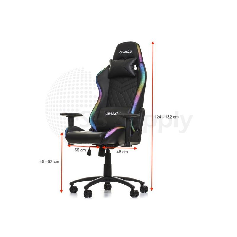Gear4U Siège gamer LED / Chaise gaming RGB - Noir
