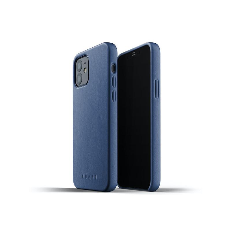 Mujjo - Coque iPhone 12 / iPhone 12 Pro Cuir - Bleu