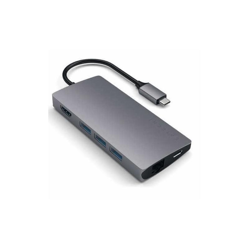 Satechi Adaptateur , Thunderbolt USB,C Multi,Ports 4K Ethernet , Gris