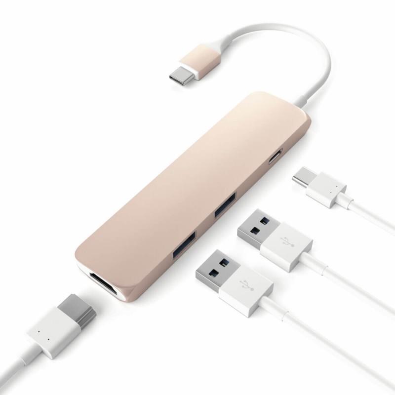 Satechi Adaptateur USB-C vers USB 3.0 Et HDMI - Rose