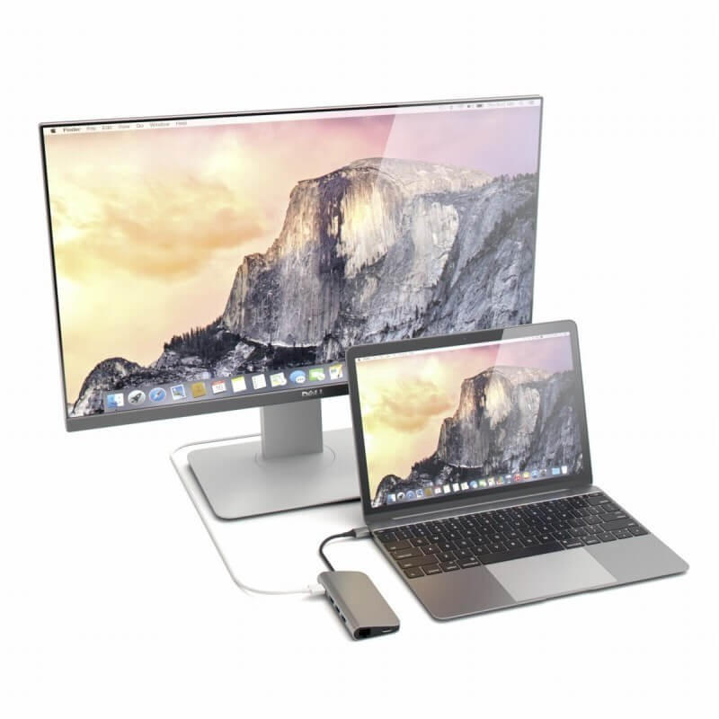 Satechi Adaptateur USB-C vers USB 3.0 - HDMI 4K - Ethernet - Carte SD - Gris