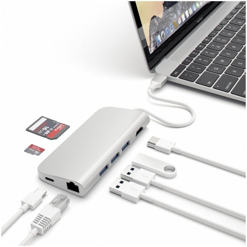 Satechi Adaptateur USB-C vers USB 3.0 - HDMI 4K - Ethernet - Carte SD - Argent