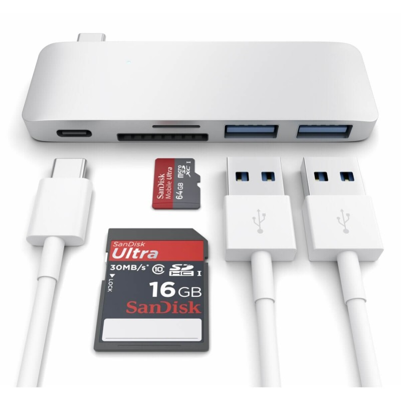 Satechi Hub USB-C vers USB 3.0 / Carte SD / USB-C - Argent