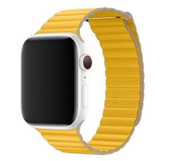 Apple - Bracelet Apple Watch 42mm / 44mm Leather Loop - En cuir - Medium - Jaune / Meyer Lemon