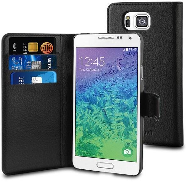 Muvit Wallet - Étui Samsung Galaxy Alpha portefeuille -Noir