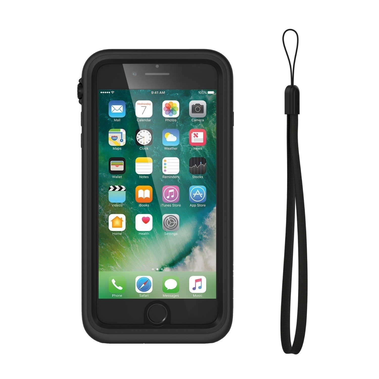 iphone 7 plus case catalyst front view with lanyard black 1