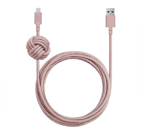 Native Union Kevlar Night Lightning - Câble de charge 3m - Rose