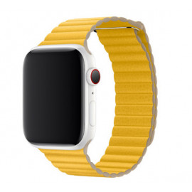 Apple - Bracelet Apple Watch 42mm / 44mm Leather Loop - En cuir - Medium - Jaune / Meyer Lemon