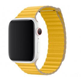 Apple - Bracelet Apple Watch 42mm / 44mm Leather Loop - En cuir - Large - Jaune / Meyer Lemon