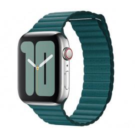 Apple - Bracelet Apple Watch 42mm / 44mm Leather Loop - En cuir - Medium - Vert / Peacock