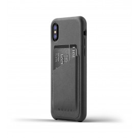 Mujjo Coque Cuir iPhone X - Etui portefeuille - Gris