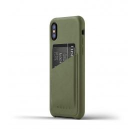 Mujjo Coque Cuir iPhone X - Etui portefeuille - vert