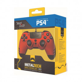 Steelplay MetalTech Manette PS4 Filaire - Rouge rubis