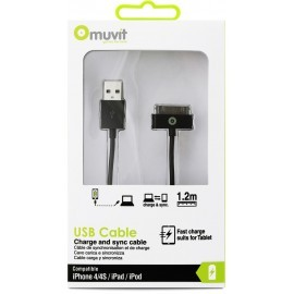 Muvit Charge et synchronisation câble 30-broches 1.2 m  Noir