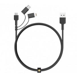 Aukey - Câble USB-A vers USB-C, Micro USB et lightning 1.2m