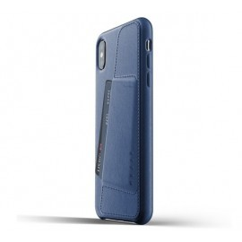 Mujjo Coque Cuir iPhone XS Max - Etui portefeuille - bleu