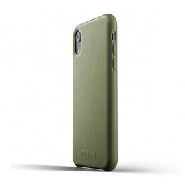 Mujjo Étui de protection en cuir iPhone XR vert olive