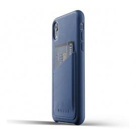Mujjo Coque en cuir - Étui Portefeuille - iPhone XR - bleu