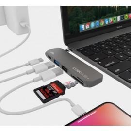 Adaptateur intelliARMOR USB-C 5 en 1 MacBook LynkHUB+ Gris