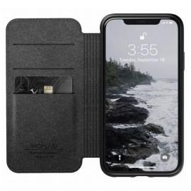 Nomad Rugged Folio Étui portefeuille en cuir iPhone XR Marron