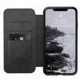 Nomad Rugged Folio Étui portefeuille en cuir iPhone XS Max Noir