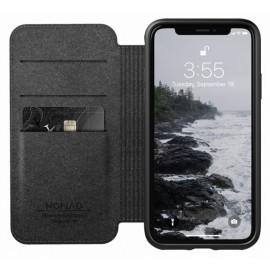 Nomad Rugged Folio Étui portefeuille en cuir iPhone X / XS Noir