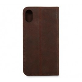 Knomo iPhone X / XS Premium cuir Folio Marron