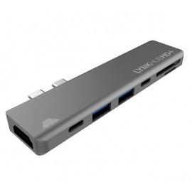 Adaptateur intelliARMOR USB-C 7 en 1 MacBook LynkHUB HD+ Gris