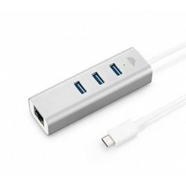 Adaptateur intelliARMOR USB-C 3 Ports LynkHub - Argent