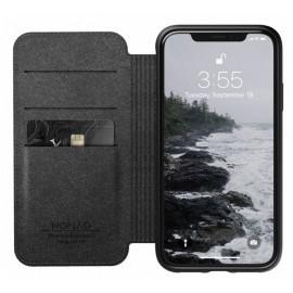Nomad Rugged Folio Étui portefeuille en cuir iPhone XR Noir