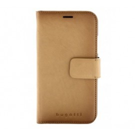 Bugatti Booklet Zurigo - Coque portefeuille iPhone XR Beige Marron