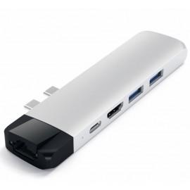 Adaptateur Satechi Pro Hub - Type USB C vers 4K HDMI Ethernet Argent