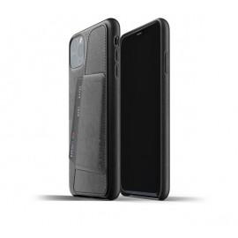 Mujjo - Coque iPhone 11 Pro Max portefeuille - en cuir - Noire