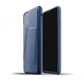 Mujjo - Coque iPhone 11 Pro Max portefeuille - en cuir - Bleue