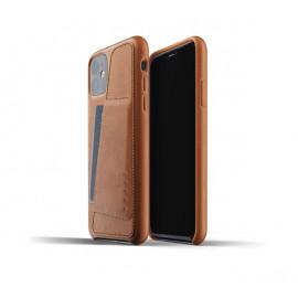Mujjo - Coque iPhone 11 portefeuille - en cuir - Marron