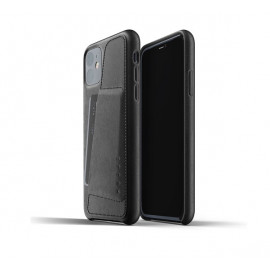 Mujjo - Coque iPhone 11 portefeuille - en cuir - Noire