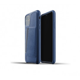 Mujjo - Coque iPhone 11 portefeuille - en cuir - Bleue