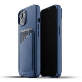 Mujjo - Coque cuir iPhone 13 Mini portefeuille - Bleu