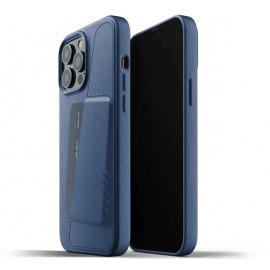 Mujjo - Coque cuir iPhone 13 Pro Max portefeuille - Bleu