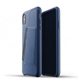 Mujjo Coque Cuir iPhone X / XS - Etui portefeuille - bleu