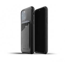 Mujjo - Coque iPhone 11 Pro portefeuille - en cuir - Noire