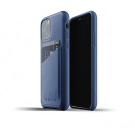 Mujjo - Coque iPhone 11 Pro portefeuille - en cuir - Bleue
